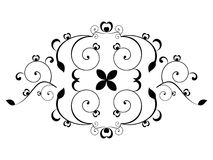 Abstract floral element. Black and white object vector illustration Stock Illustration