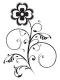 Abstract floral element. Black and white object vector illustration Royalty Free Stock Photos