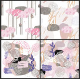 Abstract floral elements paper japan collage Stock Photography