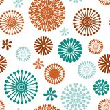 Abstract floral elements seamless pattern. Vector purple abstract floral elements seamless pattern background on white with turquoise, purple and orange, perfect stock illustration
