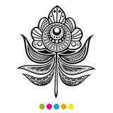 Abstract floral feather illustration. Abstract floral feather vector illustration. Black and white flower coloring page royalty free illustration