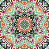 Floral mandala pattern scarf design. Abstract floral folk ethnic tribe seamless pattern ornamental scarf design Royalty Free Stock Images