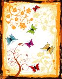 Abstract floral frame. Grunge paint floral frame with butterfly, element for design, vector illustration Stock Image