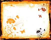 Abstract floral frame. Grunge paint floral frame with butterfly, element for design, vector illustration Stock Photography