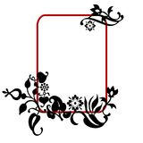 Abstract floral frame. An illustrated frame or border with black artistic floral designs Stock Photos
