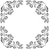 Abstract floral frame, black contour Royalty Free Stock Photography