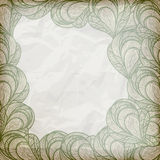 abstract floral frame on crumpled paper Stock Photos