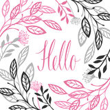 Abstract floral frame Gray and pink color Hello Calligraphy lett Royalty Free Stock Images