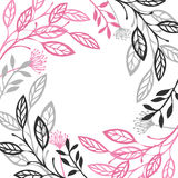 Abstract floral frame Gray and pink color. Set Stock Photos
