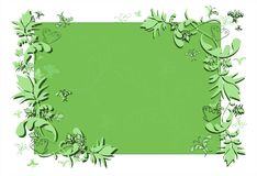 Abstract floral frame in green. Floral frame with swirls, butterfly and foliage in green with copy-space for your text Vector Illustration