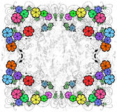 Abstract floral frame on grunge background Royalty Free Stock Image