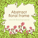 Abstract floral frame plant, vegetable background, cover, card, invitation, banner.  of colorful scrollwork, plants, grass, leaves Stock Image