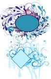 Abstract floral frames. Two grunge floral frames in blue palette royalty free illustration