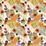 Abstract floral and geometric seamless pattern. Royalty Free Stock Photography