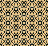 Abstract floral geometric seamless pattern with hexagonal shapes. Stars, flower silhouettes, grid, mesh. Vector ornamental texture. Elegant black and yellow vector illustration