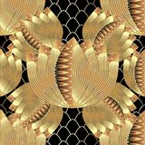 Abstract floral gold 3d vector seamless pattern. Textured grid lattice ornamental background. Geometric repeat ornate backdrop. Decorative surface flowers royalty free illustration
