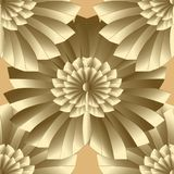 Abstract floral gold vector seamless pattern. Modern patterned o. Rnate background. Creative geometric fan shaped decorative frilled 3d flowers. design. For stock illustration
