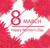 Abstract floral greeting card. Happy Women`s Day. Vector illustr. Ation royalty free illustration