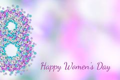Abstract floral greeting pink-blue card 8 March. Happy Women`s Day. Postcard to March 8, with flowers. Illustration can be used in the newsletter, brochures royalty free illustration
