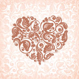 Abstract floral heart. On the antique ornate background Stock Photos