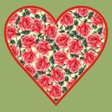 Abstract floral heart with ornamental roses Royalty Free Stock Photos