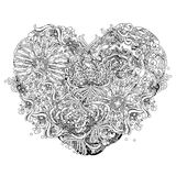 Abstract floral heart shaped pattern. Illustration,hand drawn Royalty Free Illustration