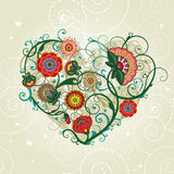 Abstract floral heart. Vector illustration. In retro style Royalty Free Stock Images