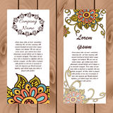 Abstract floral henna indian mehndi card with text. Banner with hand drawn colorful flowers for invitations or promosion Royalty Free Stock Photography