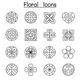 Abstract Floral icon set in thin line style Royalty Free Stock Photography