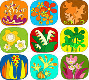 Abstract Floral Icons. Simple abstract floral retro icons, buttons vector illustration