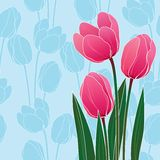 Abstract floral illustration with tulips on blue Royalty Free Stock Images