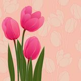 Abstract floral illustration with tulips on blue Stock Photos