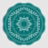 Abstract floral lace pattern with swirls. Vector decorative ceramic or porcelain plate with round ornament in ethnic oriental styl. E. Intricate, fanciful ornate royalty free illustration