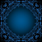 Abstract floral lacy background. Illustration of frame from abstract lacy flowers in blue color on black background Royalty Free Stock Photos