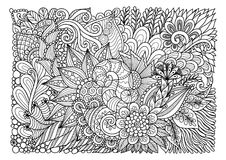 Abstract floral lineart  for background and adult coloring book page. Vector illustration Royalty Free Stock Photography