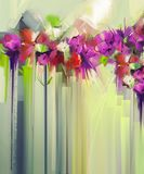 Abstract floral oil color painting. Hand painted violet and Red flowers in soft color. Flower paintings vintage style and yellow, green color background Royalty Free Stock Image