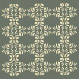 Abstract floral ornament. The background is dark khaki, light yellow texture, hand drawn Royalty Free Stock Photo