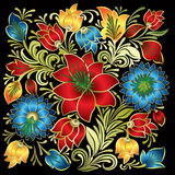 Abstract floral ornament  on black. Background Royalty Free Stock Photography