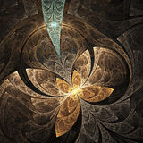 Abstract floral ornament on black background. Computer-generated fractal in blue, yellow, brown and beige colors Royalty Free Stock Photography