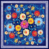 Abstract floral ornament with flowers. Abstract floral ornament with color flowers on grunge blue background Stock Photos