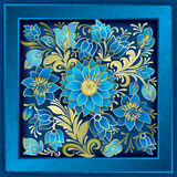 Abstract floral ornament with flowers on grunge background. Abstract floral ornament with summer flowers on grunge blue background Royalty Free Stock Photos