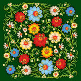 Abstract floral ornament on green background Royalty Free Stock Image