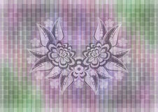Abstract floral ornament on mosaic background Royalty Free Stock Photography