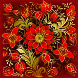 Abstract floral ornament with red flowers. Abstract floral ornament with summer flowers on red background Royalty Free Stock Photography