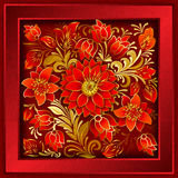 Abstract floral ornament with red flowers. Abstract floral ornament with summer flowers on grunge red background Stock Image
