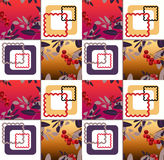 Abstract floral ornament seamless pattern with rowanberry Royalty Free Stock Images