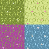 Abstract floral ornament seamless pattern set. Vector illustration Stock Image