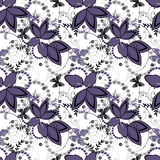 Abstract floral ornament seamless pattern on white Stock Photo