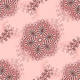 Abstract floral ornaments brown and gray on pink Stock Photos
