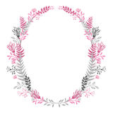 Abstract floral oval frame Gray and pink color. Set Royalty Free Stock Images